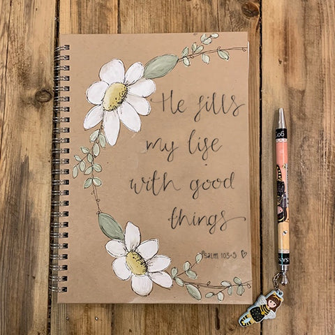Handmade Notebook with Daisy Wreath - Good Things 9888