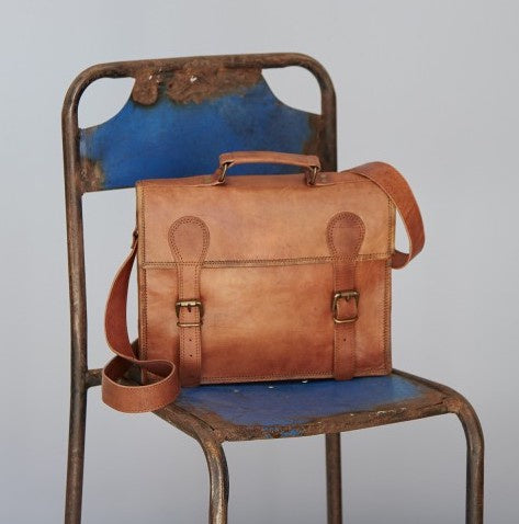 Large Old School Brown Leather Satchel 8682