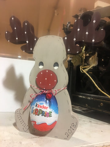 Personalised Christmas Chunky Reindeer with Kinder Egg 8332