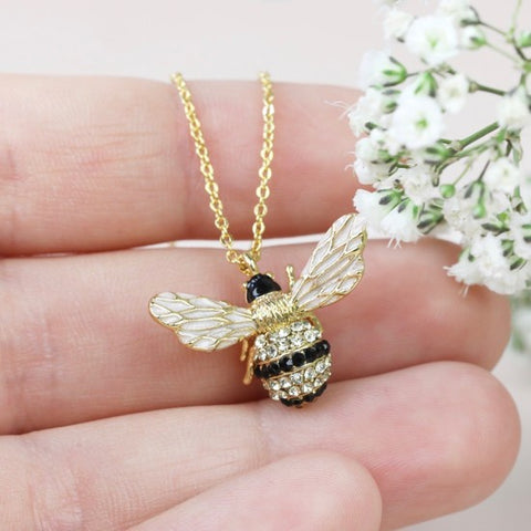 Large Crystal Bumblebee Pendant Necklace 11225