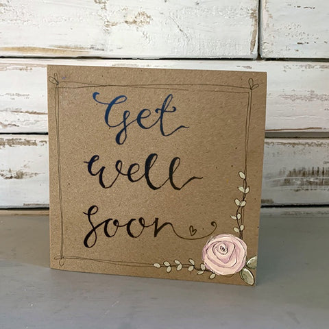 Handmade Rose Card - Get Well Soon 9880