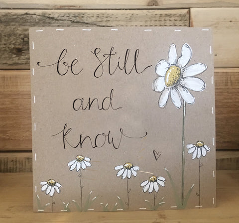 Handmade Tall Daisy Card - Be Still & Know 9907