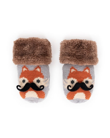 Powder Mittens - Cosy Kids Fox in Slate 9421