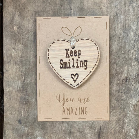 Handmade Little Sentiment Heart & Card - Keep Smiling 10007