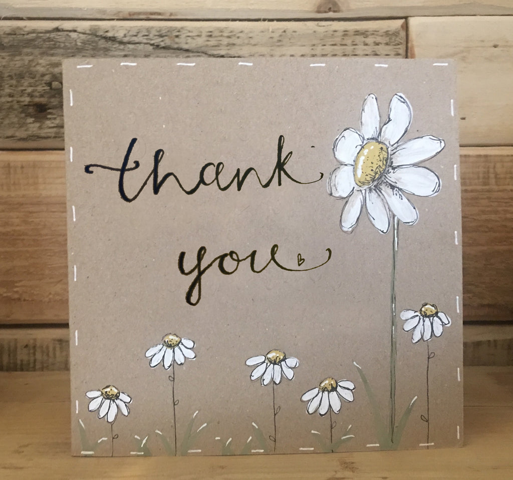 Handmade Tall Daisy Card - Thank You 9908