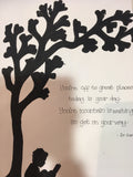 Silhouette with Tree in Md Frame - Reading Book 5516