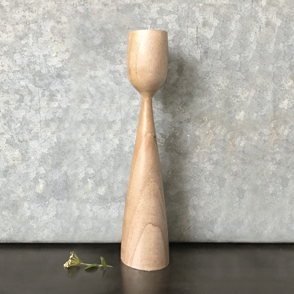 Natural Wood Candle Stick Large 9103