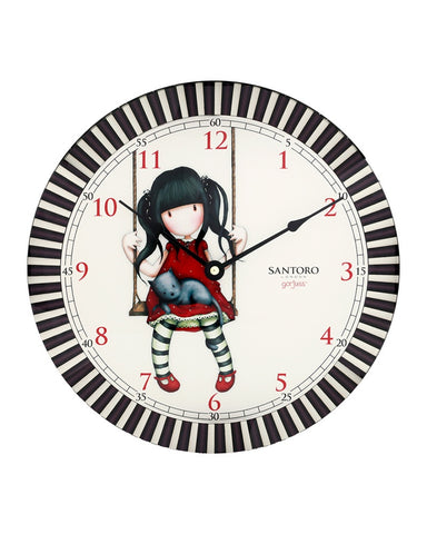 Gorjuss Glass Wall Clock - Ruby 6931