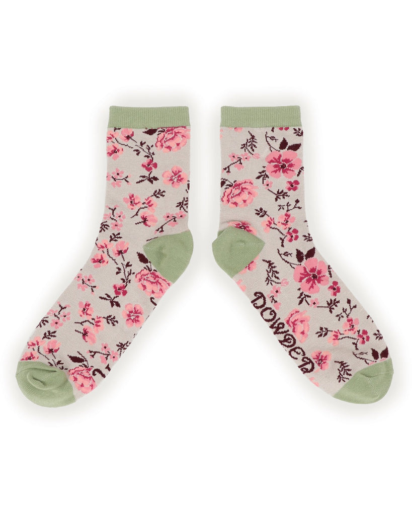 Powder Ankle Sock - Pink Blossom in Slate 9763