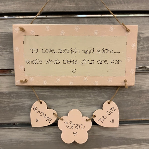 Personalised Long Plaque with Hearts & Flower 8719