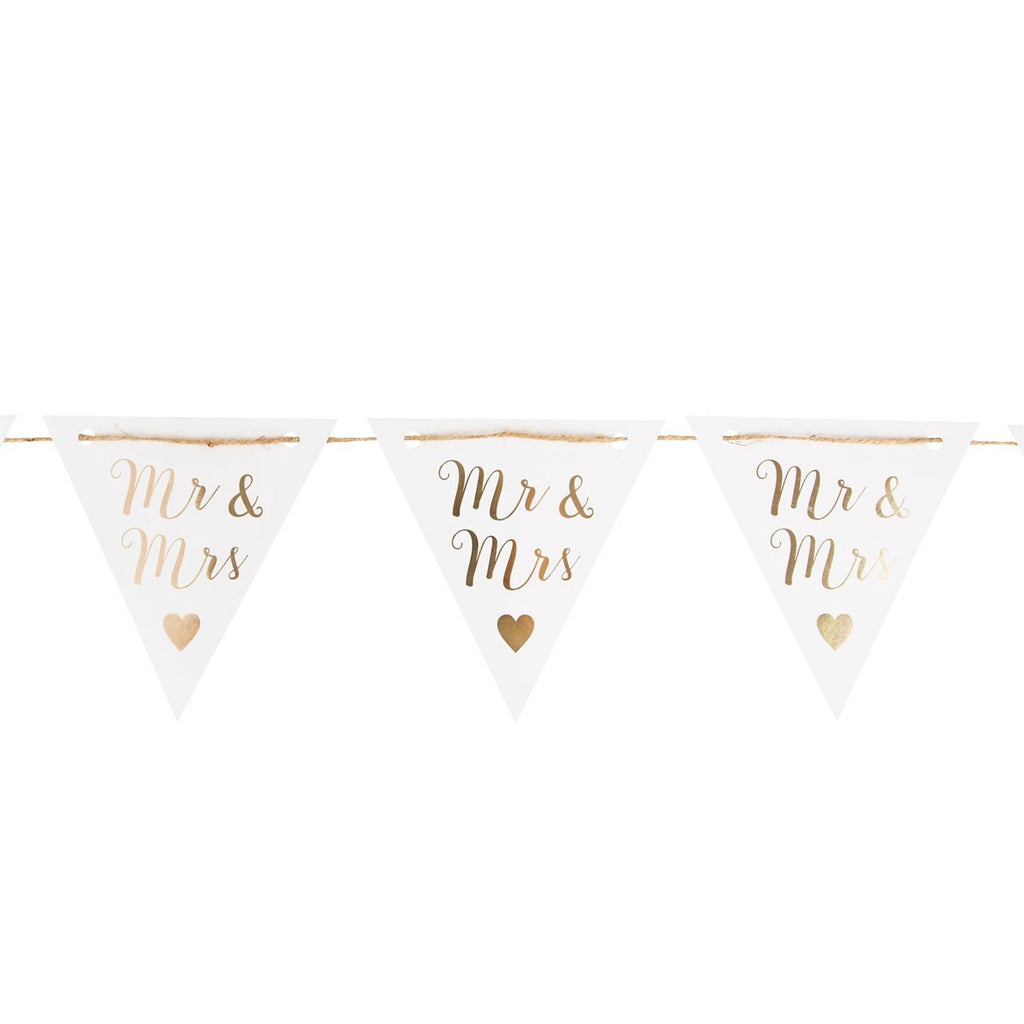 Mr & Mrs Gold Paper Bunting 6307