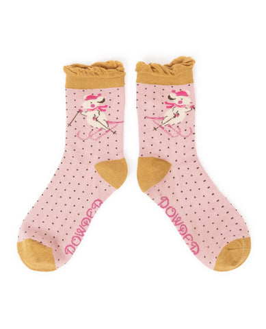 Powder Ankle Sock - Skiing Mice Candy Pink 6694