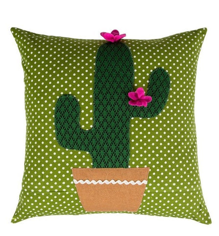 Colourful Cactus Cushion - Pink Flower 7180
