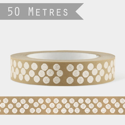 Wide Brown Tape - White Dots 10623