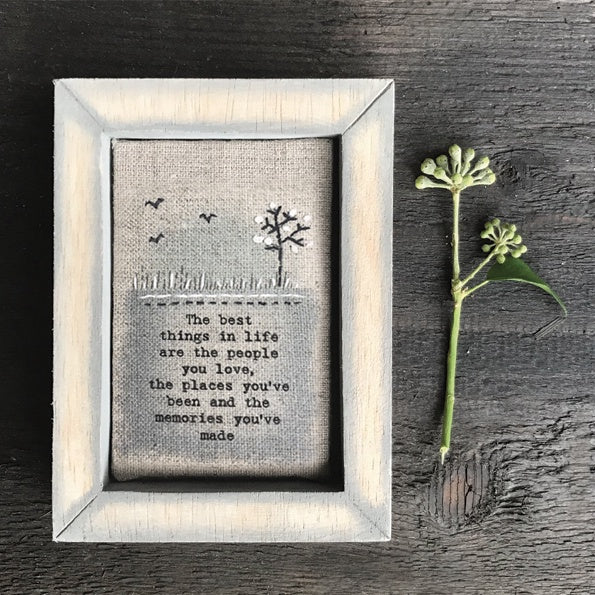 Embroidered Box Frame - Best Things in Life 9602