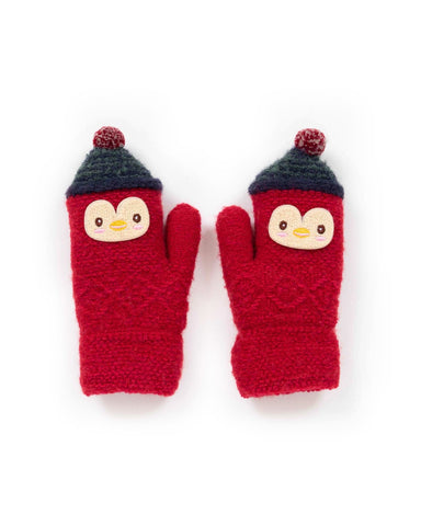 Powder Mittens - Kids Wooly Penguin in Scarlett 9189