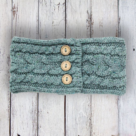 Aran Button Headband - Jade Green 10755