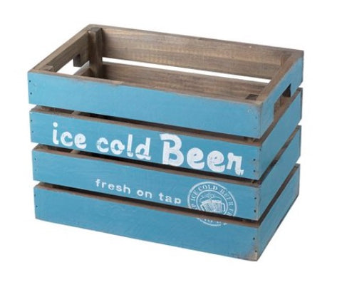 Blue Wooden Beer Crate  7748