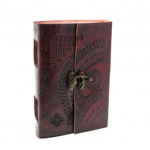 Medium Indra Clasp Embossed Leather Notebook 7521