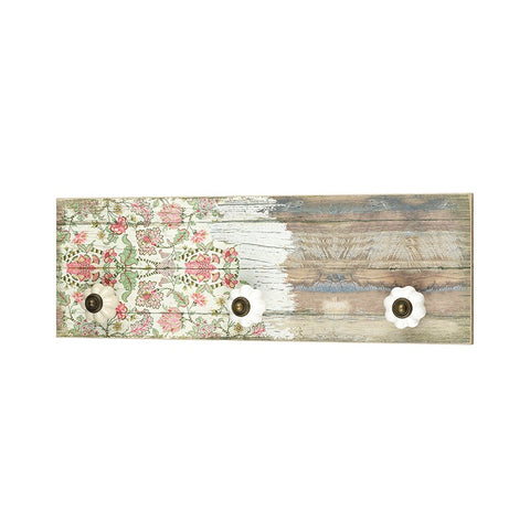 Distressed Floral Plaque with Knobs 10125
