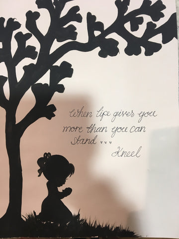 Silhouette with Tree in Lg Frame - Child Kneeling 5515