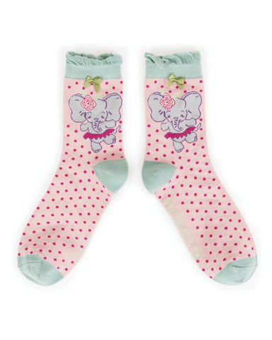 Powder Ankle Sock - Dancing Elephant in Pink 8612