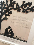 Silhouette with Tree in Lg Frame - Nanny & Child 5517
