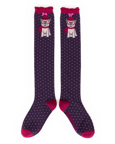 Powder Long Sock - Winter Westie in Purple 10820