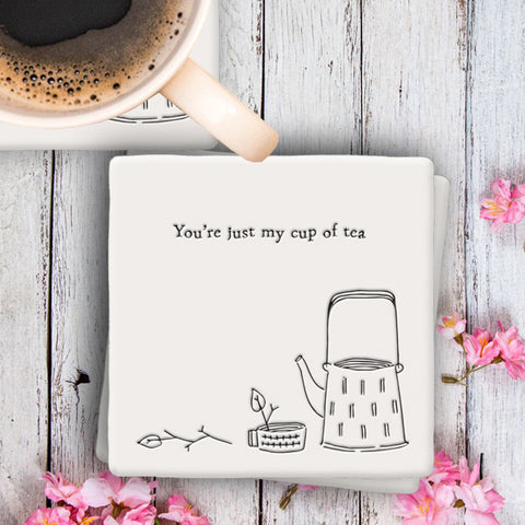 Porcelain Square Coaster - Just my Cup of Tea 9599