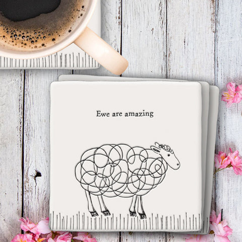 Porcelain Square Coaster - Ewe are Amazing 10217