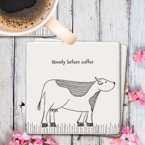 Porcelain Square Coaster - Cow / Moody Before Coffee 9318