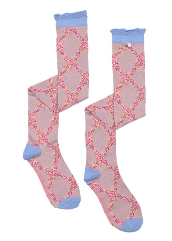 Long Sock - Lattice Rose Pink 5973