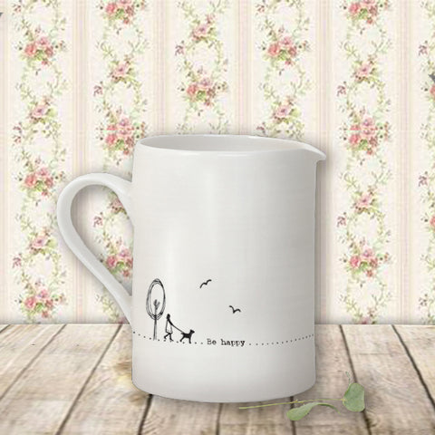 Sm Porcelain Jug - Be Happy 10218