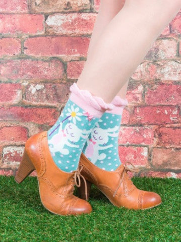 Powder Ankle Sock - Bunny & Flower Mint 5983