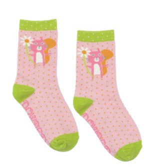 Powder Kids Short Sock - Squirrel & Flower Pale Pink 2-4 yrs 5998