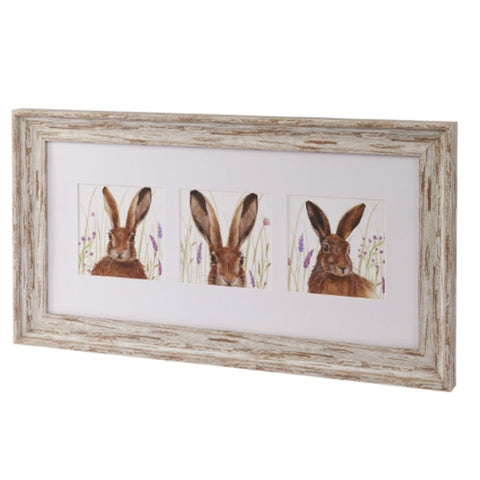3 Hare Framed Plaque 9703