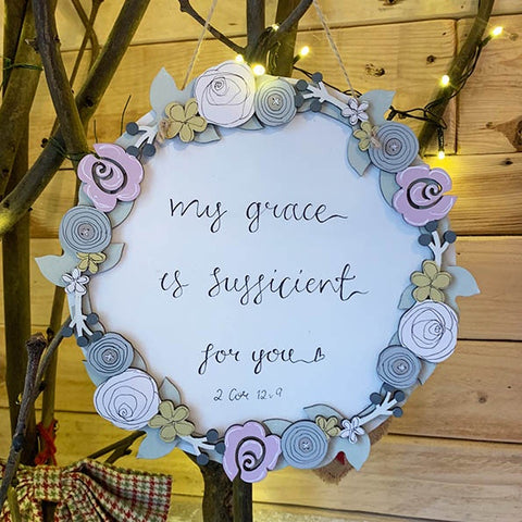 Round Layered Plq with Floral Border - My grace is Sufficient 9817