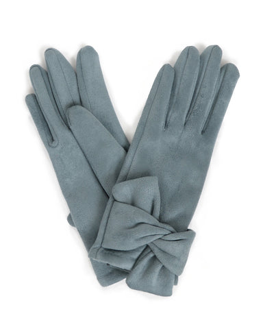Powder Henrietta Suede Gloves in Denim 10546