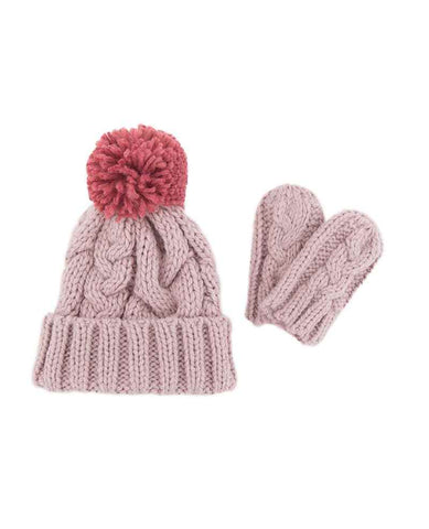 Hat & Mitten Set - Toddler's Cable knit Candy Pink 6905
