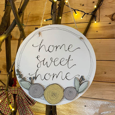 Round Plq with Round Flowers - Home Sweet Home 9833