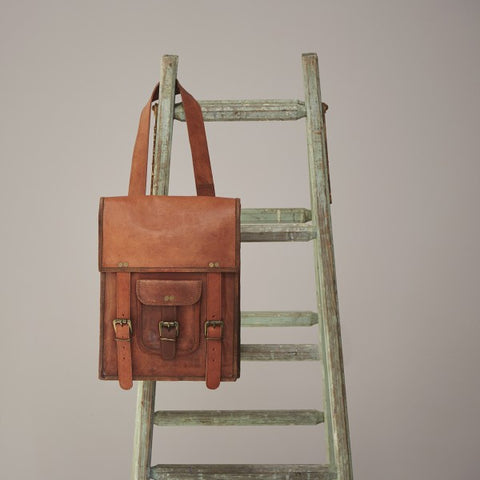 Large Brown Leather Satchel Style Rucksack 8683
