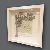 Personalised Side Tree & 2 Hearts in Sm Box Frame 6050