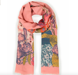 Powder Print Scarf - Countryside Animals in Pink 9781