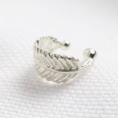 Tiny Sterling Silver Feather Ear Cuff 11228