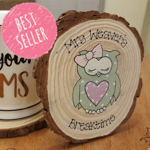 Personalised Wooden Coaster - Owl 6287