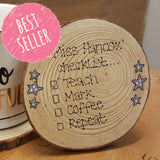 Personalised Wooden Coaster - Checklist 6292