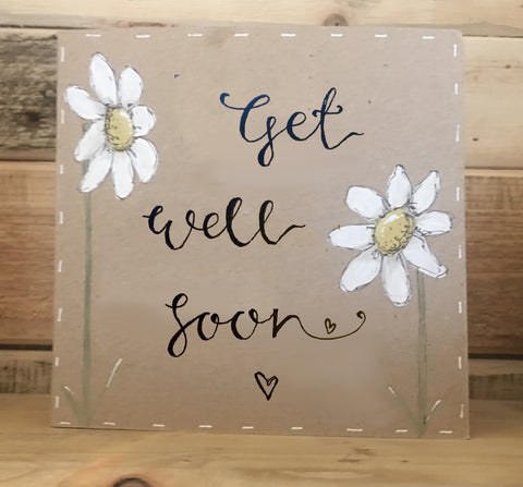 Handmade Tall Daisies Card - Get Well Soon 9904