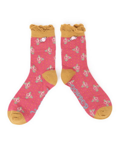 Powder Ankle Sock - Rosebud Berry 6700