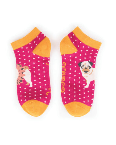 Powder Trainer Sock - Ballet Pug in Fuchsia 8614