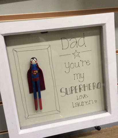 Personalised Superhero Dolly peg Frame 5024